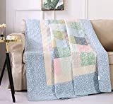 KINBEDY Patchwork Quilt 100% Cotton Reversible Floral Print Quilted Blankets Coverlets Bed Throws for Couch Sofa Twin Bed (Blue, Twin (60'x80'))