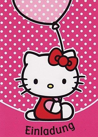 5er Set Einladungskarten Hello Kitty
