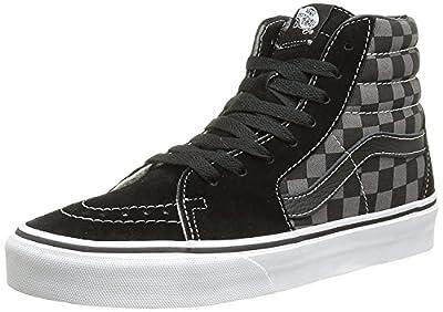 Vans Men's Sk8-Hi Skate Shoe (7.5 D(M) US, Black/Pewter Checkerboard Canvas)