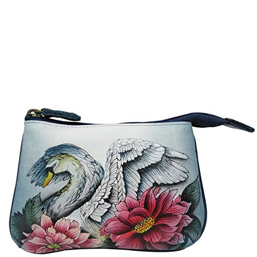Anuschka Women's Genuine Leather Coin Purse - Hand Painted Original Artwork - Swan Song -  1107-SWS