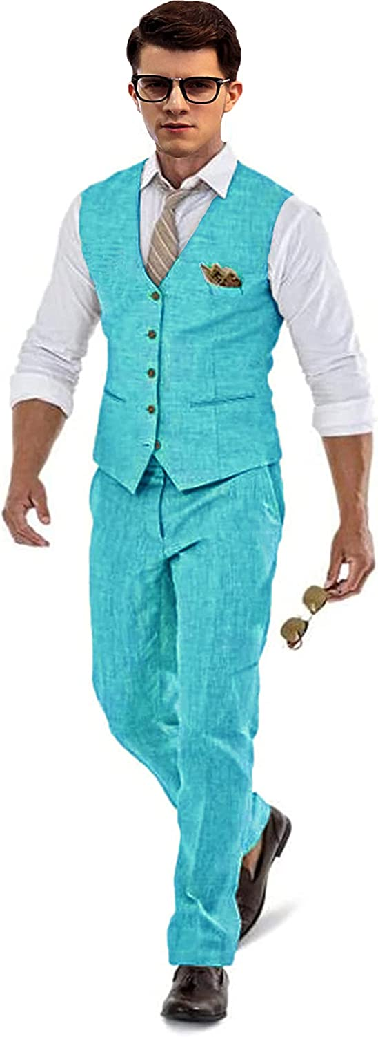 Mens Linen Beach Pants Big and Tall Suit Vest for Wedding Vest and Trousers Set Turquoise