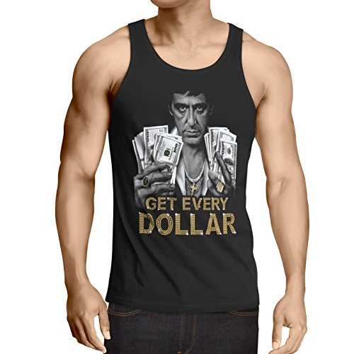 style3 Tony Get Every Dollar Tank Top Uomo Canotta Canottiera Pacino Pablo US Montana Escobar, Dimensione:M