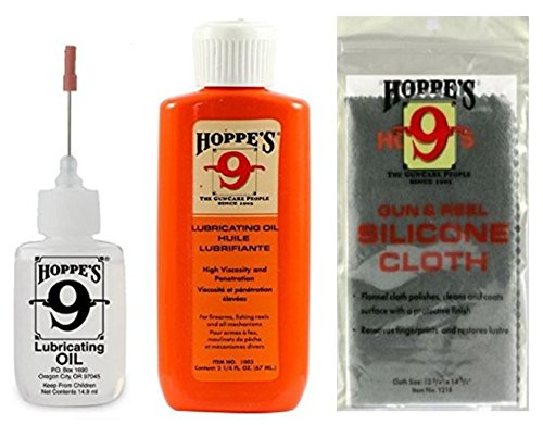 Hoppe's Lubricating Oil, 14.9 ml Precision Bottle, 2.25oz Squeeze Bottle Refill, Silicone Non-Abrasive Gun Cloth - Gun Cleaning Bundle Kit - For Pistol / Handgun / Rifle / Shotgun / AR15