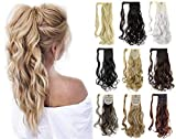 Felendy 18' 24' Ponytail Extension Curly Straight Drawstring Hairpiece Wrap Around Long Hair Extension for Women Ash...