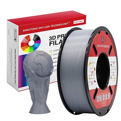 Filamento PLA 1.75mm, Stampante 3D Filamento PLA 1.75mm, Precisione Dimensionale +/- 0.02mm, Bobina da 1KG Materiali di Stampa 3D per Stampante 3D, Argento
