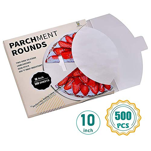 "Katbite Parchment Rounds  500 10 Inch 4""5""6""9""12"" Parchment Paper Rounds Available Uses for Cake Baking Air Fryer Liners"