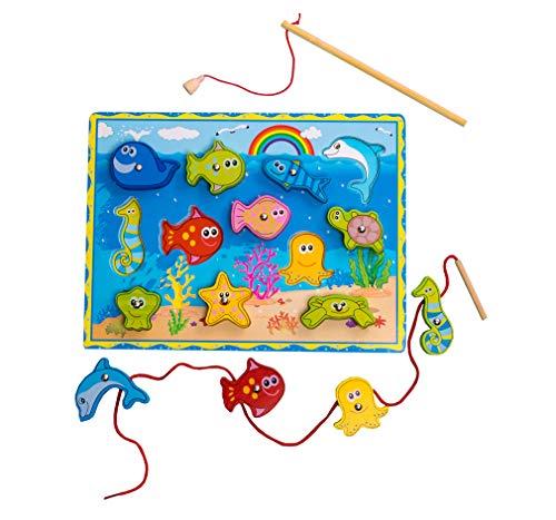 Yx-outdoor Niños Montessori pesca juego de cuentas,Practica movimientos de la mano fina y habilidades de agarramiento,Juegos de tablero de equilibrio preescolar infantil de madera