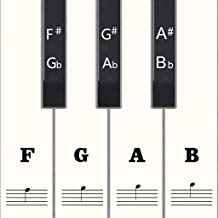 Full Set Piano Keyboard Stickers for 88/61/54/49 Keys, Removable with Numbers, Black & White