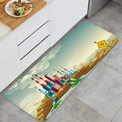 ZHIMI Alfombra de Cocina Antideslizante,contaminación del Suelo del Agua del Aire por industriales,Estera de Cocina Felpudos Decorativo Alfombra para Dormitorio Baño Pasillo 45 x 120cm