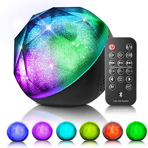 VersionTECH. LED Bluetooth Speaker Colorful Wireless Loud Speaker with Remote Control, Enhanced Bass for iPhone iPad Samsung PC, Ideal Choice for Birthday Teenagers Kids Girls