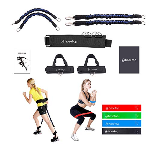 Hosetop Vertical Jump Trainer Speed and Agility Training Leg Strength Resistance Bands, Fitness Workout Strength Training Set, Speed Agility Training Equipment for Basketball Volleyball Football