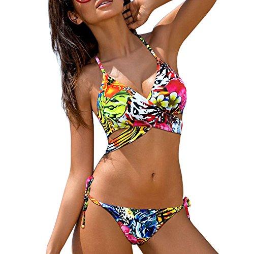 QingJiu FrauenLow Waist Bandage Bikini Beachwear Attraktiver Badeanzug Damen Neckholder (Large, rot)