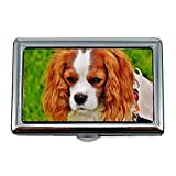 Cigarette Case Box,Dog Cavalier King Charles Spaniel Funny Pet Animal,Business Card Holder Business Card Case Stainless