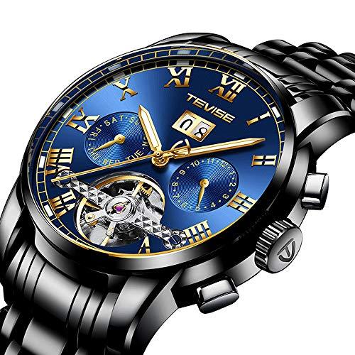XXTT Herrenuhr Luxus Mechanisch Edelstahl Skelett Wasserdicht Automatisch Automatik Leuchtzifferblatt Datumskalender Armbanduhr,Blue