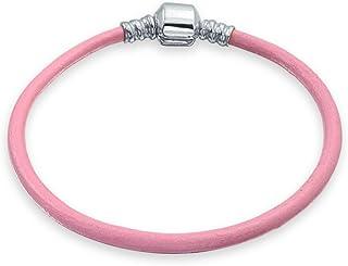 Pulsera De Cuero Auténtico Rosa De Mujer Adolescente Cordones Europeos Encanto De Plata Esterlina 6.5 7.5 8
