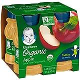 Gerber Organic 100% jugo de manzana, 4 onzas líquidas Botella, 4 Conde