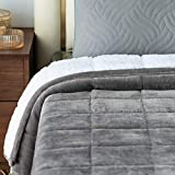 Mr.Sandman Sherpa Fleece Weighted Blanket 15lb for Adults Queen Size Bed, Super Soft Luxury Throw Blanket with Premium Ceramic Beads - 60'x80' Grey/White