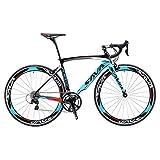 Carbon Road Bike, 2020 Version 700C Carbon Fiber Frame Racing Bicycle with Shimano 105 R7000 22 Speeds Aero Wheels Cycling Bike - Blue, 48cm
