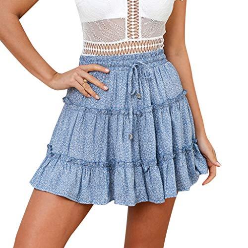 QinMMROPA Mini Falda de Volantes para Mujer, Falda Corta Sexy de Fiesta Minifalda Plisada Noche Tutu Playa Falda Cintura Alta Azul XL