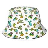 Fisherman - Sombrero de ala ancha, diseño de flores de dibujos animados con macetas y jarrones, diseño ornamental inspirado vintage