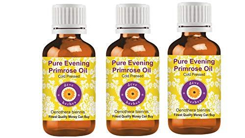 Deve Herbes Pure Evening Primrose Olie (Oenothera biennis) 100% Natuurlijke Therapeutische Graad Koud Geperst Pack of Two 3 x 100 ml