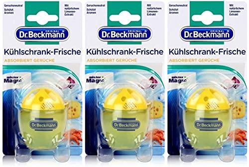 Dr. Beckmann Kühlschrank Frische Limone   Absorbiert Gerüche, schützt Aromen   mit natürlichem Limonenextrakt & Bio Alkohol   3er Pack(3 x 40 g)