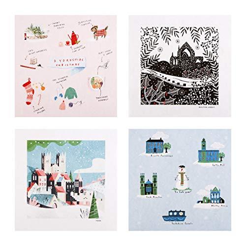 'A Reyt Yorkshire Christmas' liefdadigheidskaarten van Team Mark Makers bij Hallmark - pak van 12 in 4 ontwerpen - ondersteuning van het vertrouwen van de prins