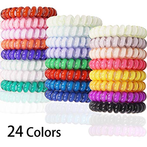 DeD 24 Pcs Spiral Hair Ties No Crease, Coil Hair Ties Phone Cord Hair Ties Candy Colors Spiral Telephone Hair Ties Colorful Hair Accessories for Women Girl
