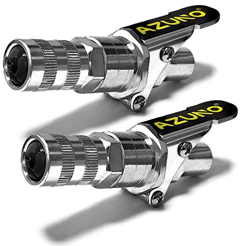 """AZUNO Grease Gun Coupler, 2nd Generation Upgraded to 12,000 PSI, Grease Gun Tips Quick Lock and Release, Compatible with All Grease Guns 1/8"""" NPT Grease Gun Fittings (2 Pack)"""