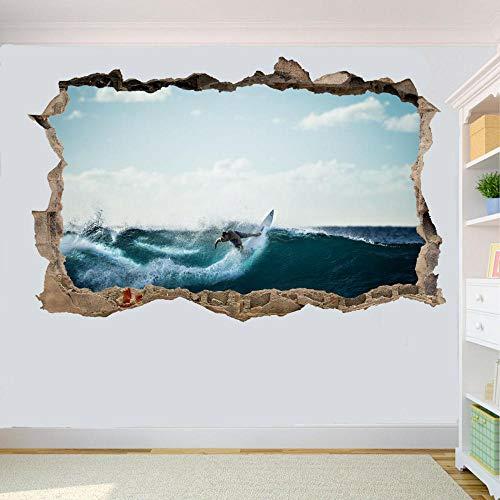 HUJL Pegatinas de pared PEGATINAS DE PARED DE SURF TABLA DE SURF DE ONDAS DECORACIÓN DE LA TIENDA DE OFICINA DE LA SALA DE MURAL DE ARTE 3D