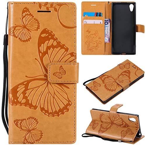 Sangrl PU-Leder Hülle Für Sony Xperia XA1, 3D Butterfly Flip Schale Brieftasche Mit Bracket-Funktion Kartenfächer Wallet Hülle Tasche Für Sony Xperia Z6 - Gelb