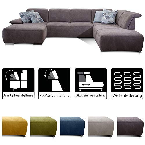 CAVADORE Wohnlandschaft Tabagos / U-Form mit Ottomane rechts / XXL Couch mit Sitztiefenverstellung / Inkl. Kopf- und Armteilverstellung / 364 x 85 x 248 / Grau