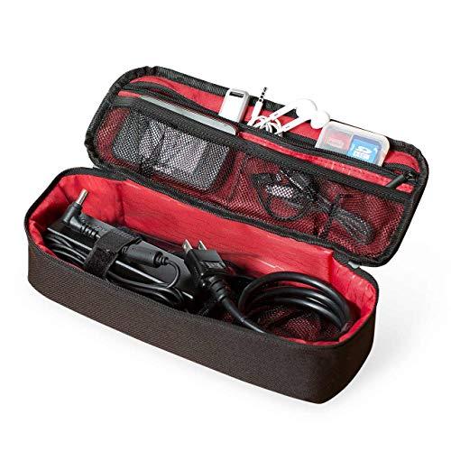 サンワダイレクト トラベルポーチ ガジェットポーチ 旅行 出張 便利グッズ マウス ケーブル モバイルバッテリー 収納ポーチ 細長タイプ フルオープン ブラック 200-BAGIN011BK