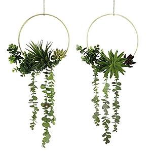 Tuokorgreen Artificial Plants Decor Floral Hoop Wreath Garland Wall Decoration