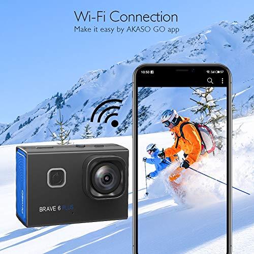 AKASO Action Cam 4K/30fps Action Kamera 20MP WiFi Touchscreen Unterwasserkamera 40m Brave 6 Plus mit EIS 8X Zoom Sprachsteuerung Fernbedienung Helmet Zubehör Kit Sportkamera 2X 1350mAh Batterien