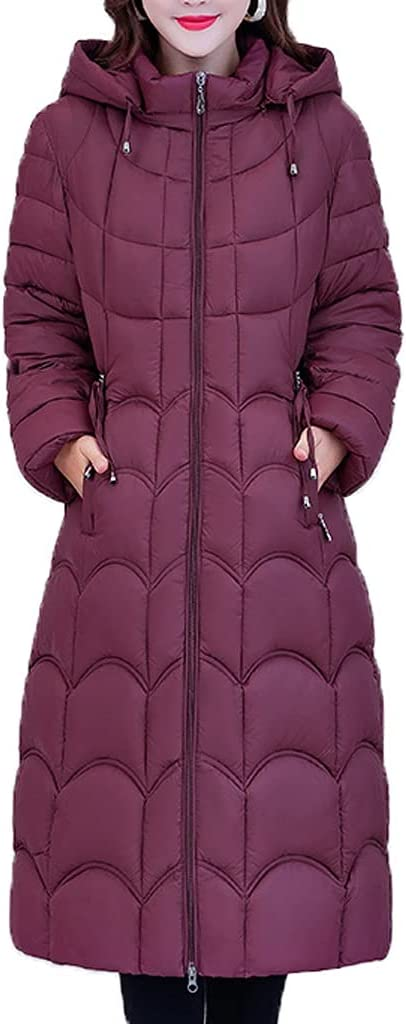 ZLBYB Long Winter Women Thick Jacket Casual Hooded Cotton Padded Parkas for Female Quilted Windbreaker Long Coat (Color : Dark Purple, Size : Large)