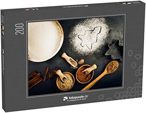 Puzzle 200 Teile Zutaten für das Weihnachtsbacken mit Kopierraum - Klassische Puzzle, 1000 / 200 / 2000 Teile, edle Motiv-Schachtel, Fotopuzzle-Kollektion 'Essen' (1000, 200 oder 2000 Teile)