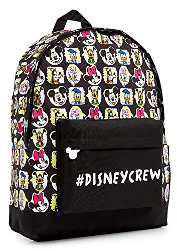 Disney Mochilas Escolares, Material Escolar para Niñas, Mochila Infantil con Mickey Mouse Minnie Mouse Pluto Pato Donald y Daisy, Mochila Negra Gran Capacidad, Regalos para Niños