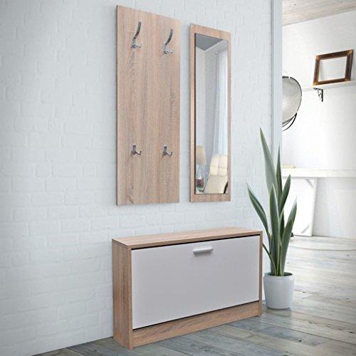 E E-NICES Muebles de entradita con Zapatero Madera 3 Color Roble y Blanco