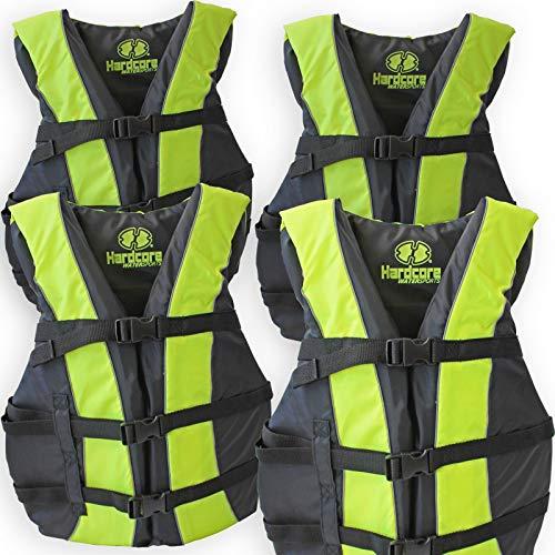 4 Pack Hardcore Adult Life Jacket PFD Type III Coast Guard Ski Vest Neon Yellow