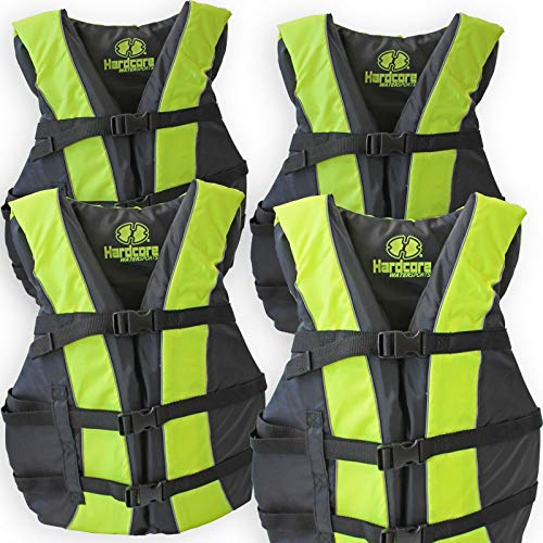 Review Of 4 Pack Hardcore Adult Life Jacket PFD Type III Coast Guard Ski Vest Neon Yellow