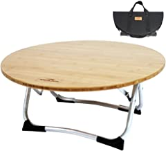 Soomloomアウトドア丸テーブル ロースタイル 竹製 直経60cm ダイニング 円卓 シンプル