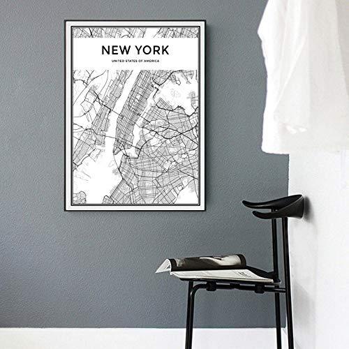 Juabc Minimalistisches Bild New York City Map Gemälde auf Leinwand Schwarz-Weiß-Pop-Poster drucken nordische Wandkunst für Wohnzimmer Wohnkultur 50x70 cm ohne Rahmen