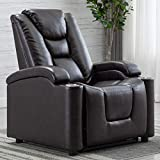 Bonzy Home Electric Recliner Chair, Adjustable Headrest & Footrest, 2 Cup Holders & USB Ports, Breathable Bonded Leather Chair, Brown