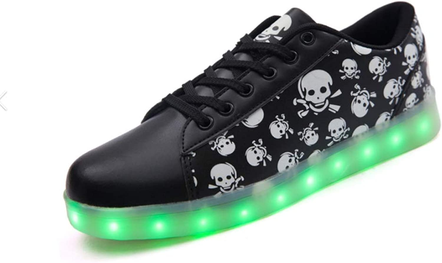 USB Charging shoes LED Lights Luminous shoes Students Couples Skulls Shiny shoes colorful Fluorescent Breathable (color   A, Size   41EU)