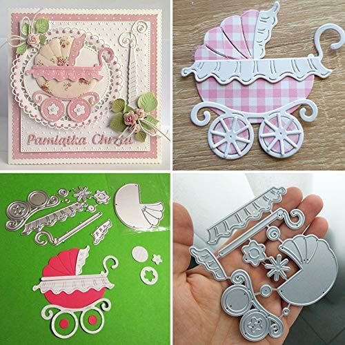 Lai-LYQ Kinderwagen Stanzmaschine Stanzschablone, Scrapbooking Prägeschablonen Papier Handwerk Weihnachtsdekoration Festival Karten Geschenk Silver