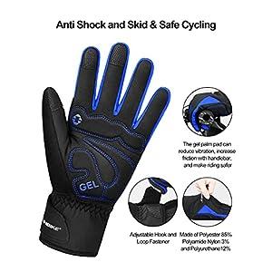 INBIKE Guantes Calientes De Ciclismo De Invierno, Guantes De Pantalla Táctil para Hombre con Dedos Completos Cortavientos E Impermeable(Azul,XL)