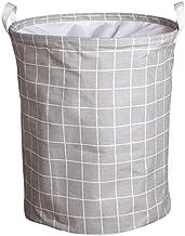 Foldable Dirty Laundry Basket Bag Bathroom Clothes Organizer Cotton Linen Washing Storage Basket Clothing Box (Color : Gray)