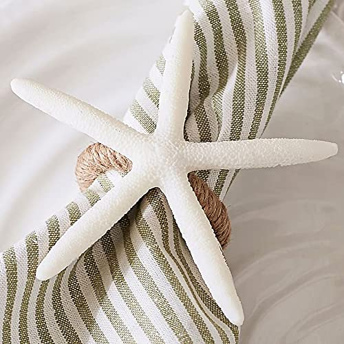Large Starfish Napkin Rings Set of 6 Faux Sea Star Napkin Ring Holder White Napkin Holder Rings for Crafts, Starfish Serviette for Coastal Table Decor, Wedding, Dinner Party, Daily Use and Home Decor