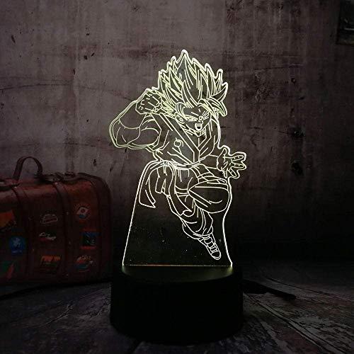 Lámpara de ilusión 3D, luz de noche Led, Dragon Ball Son Goku, lámpara de mesa colorida de perforación, niños creativos, chico, Navidad, cumpleaños
